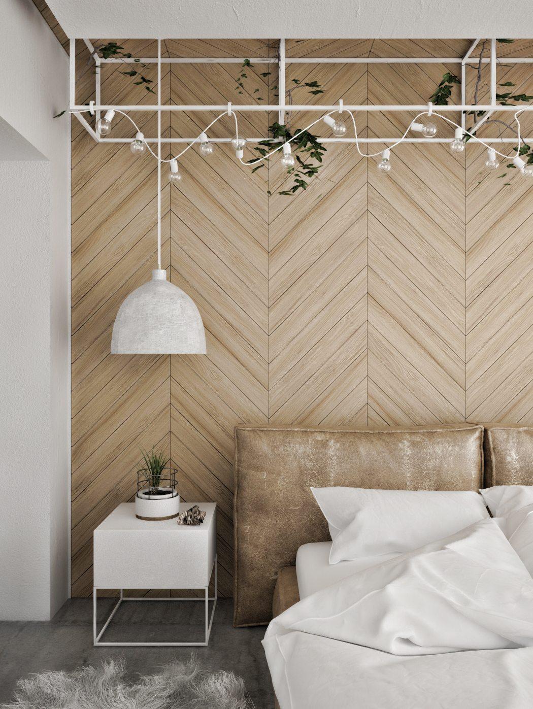 Slaapkamer met een betonvloer en een visgraat muur | Inrichting-huis.com