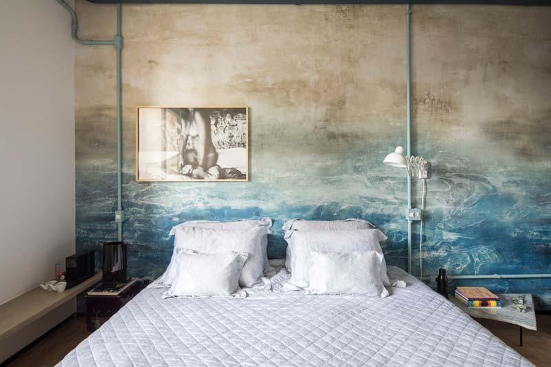 slaapkamer blauwe betonnen muur
