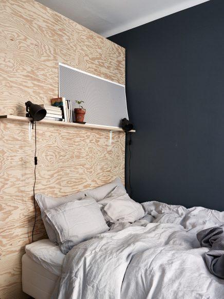 slaapkamer met blauwe muren en underlayment inloopkast, Meubels Ideeën