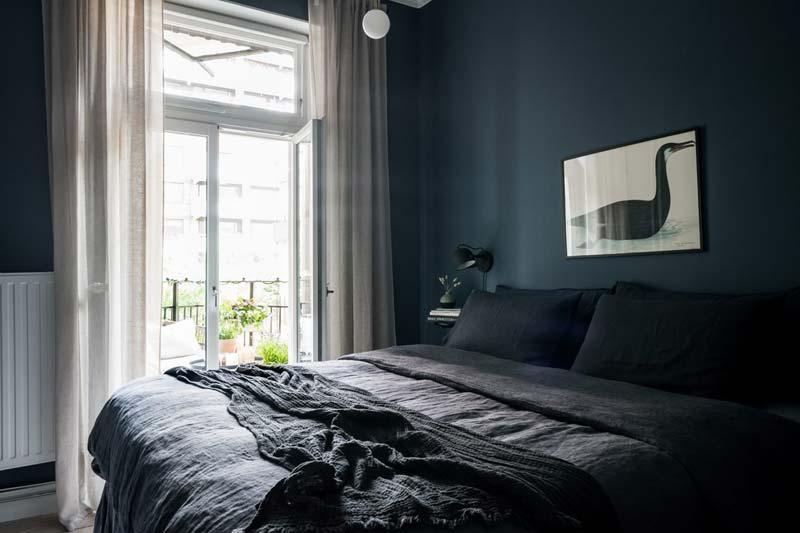 slaapkamer blauwe muren