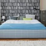 Slaapkamer met boekenkast behang