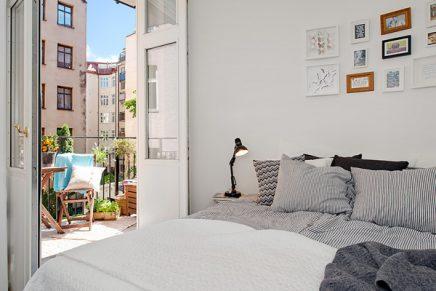 Slaapkamer inloopkast in klein appartement van 51m2