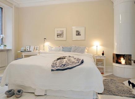 Slaapkamer met openhaard