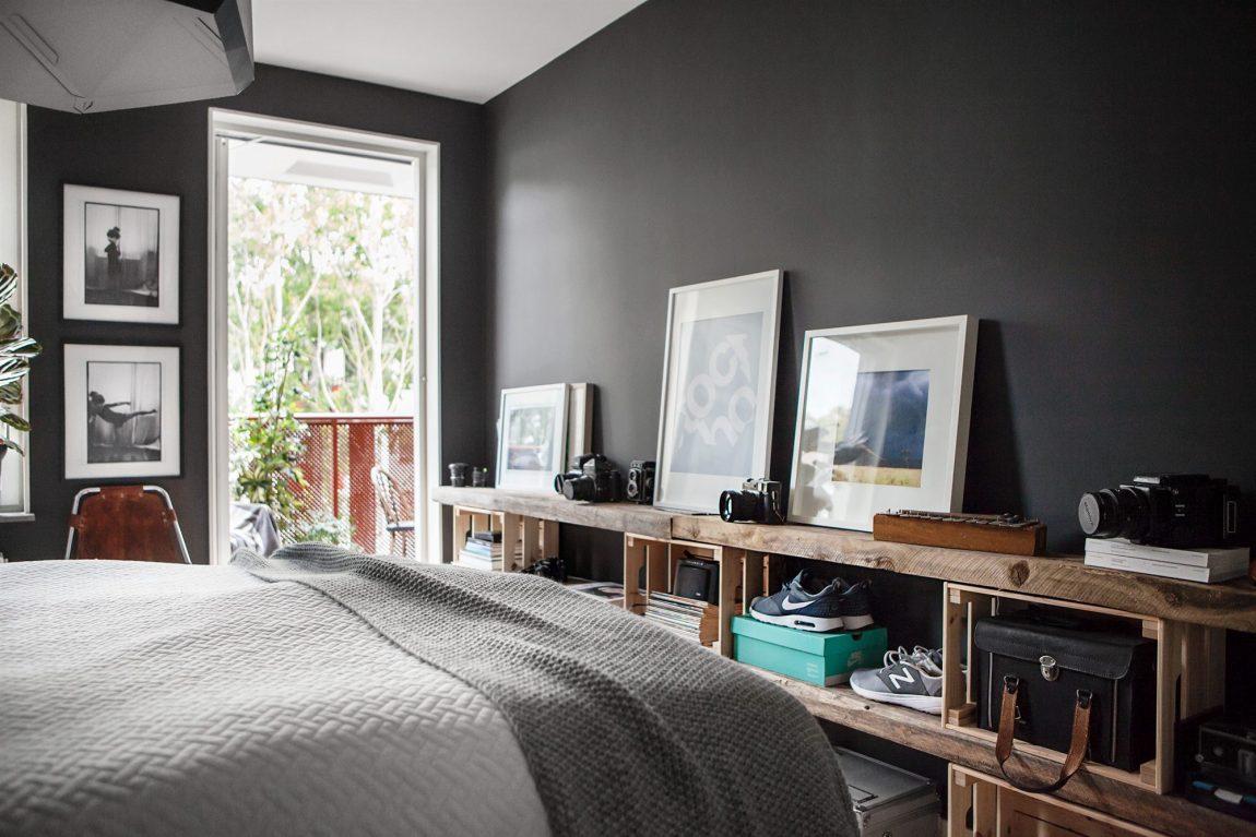 Slaapkamer met zwarte muren  Inrichting-huis.com