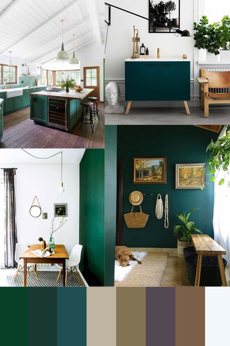 smaragdgroen interieur combineren aardetinten