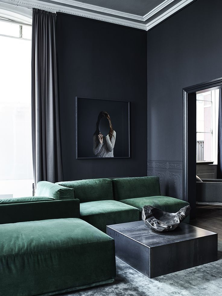 smaragdgroene bank moderne woonkamer