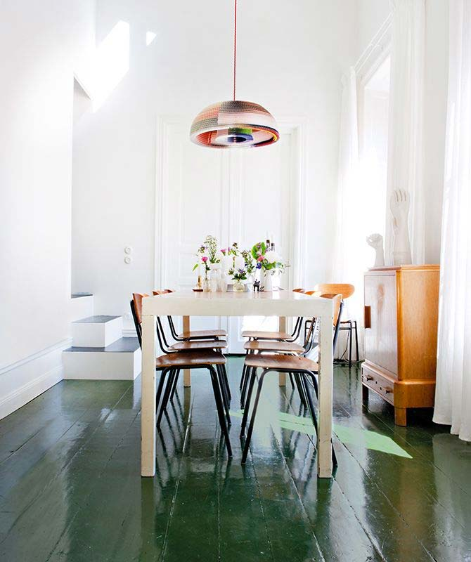 smaragdgroene houten vloer