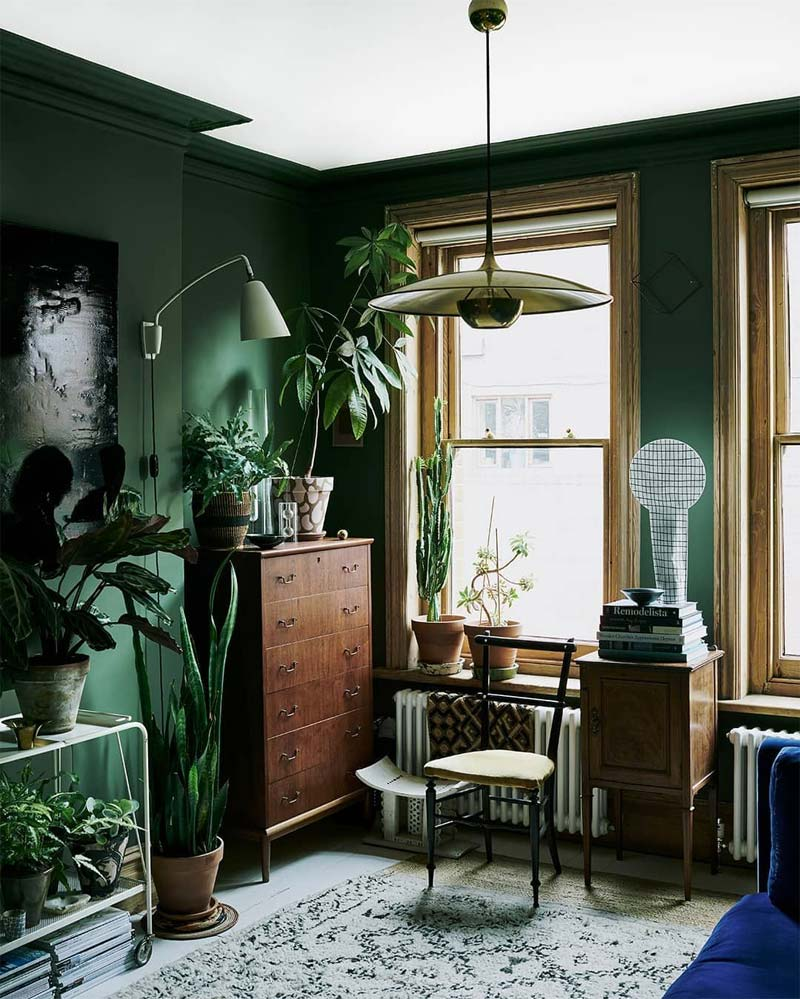 smaragd groene muren interieur