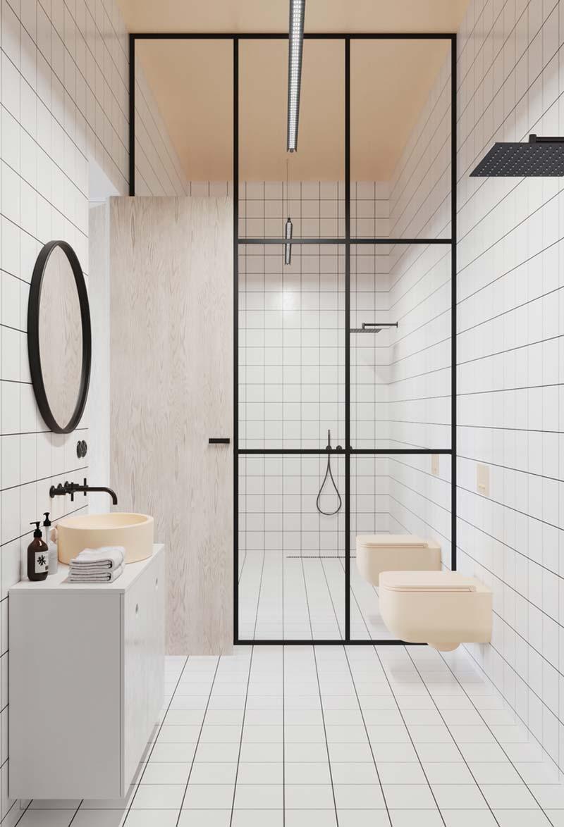 stalen wand badkamer