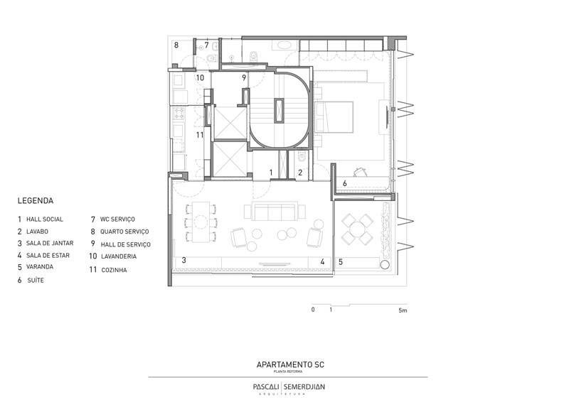 stoere appartement appartement Pascali Semerdjian arquitetos plattegrond