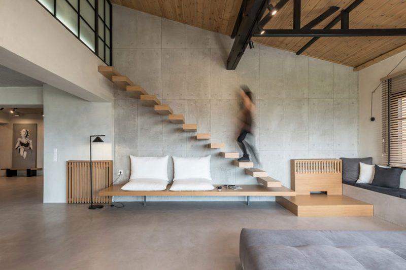 Stoere praktische inrichting van een open leefruimte