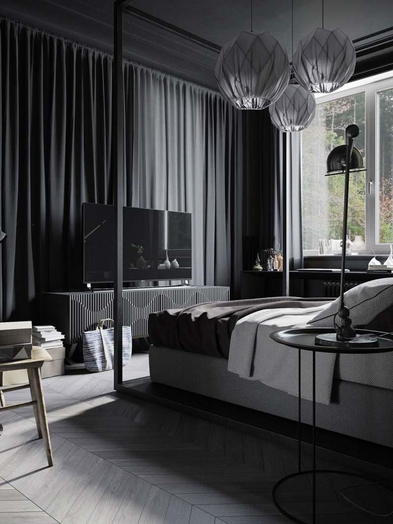 stoere zwarte slaapkamer