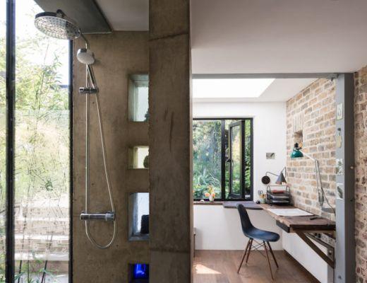 Thuiskantoor in uitbouw in de tuin
