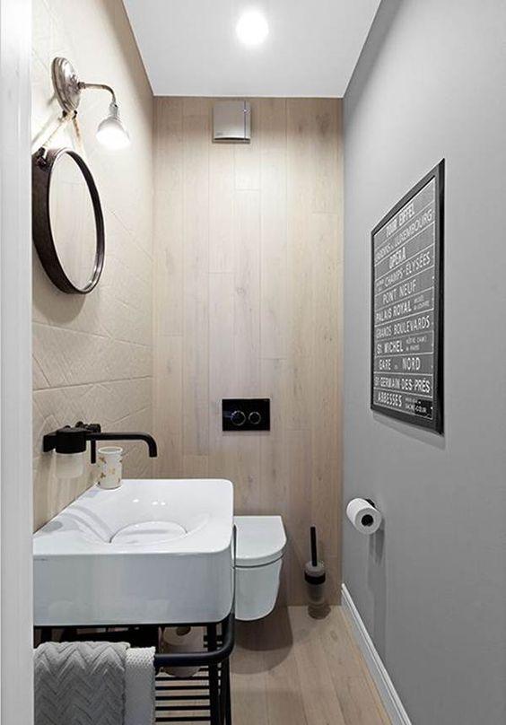toilet inspiratie houten vloer wand