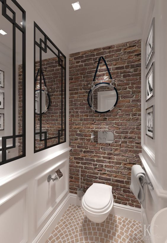 toilet inspiratie bakstenen muur