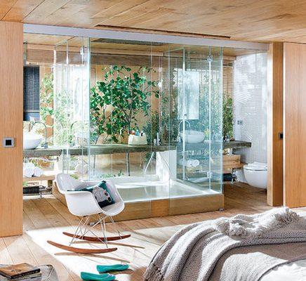 Transparante slaapkamer van loft in Barcelona