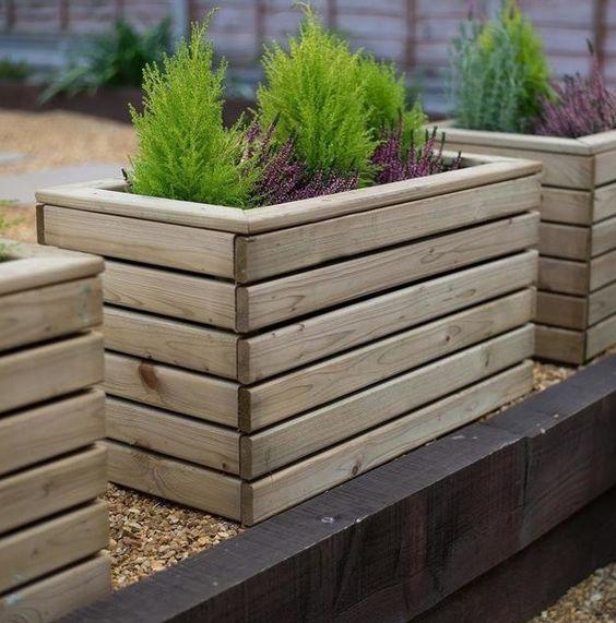 Tuin houten plantenbak ideeën
