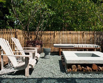 Tuin ideeën met bamboo en grind