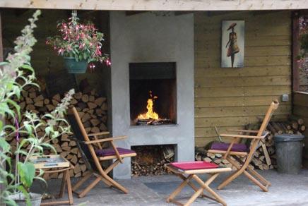 Tuin met openhaard inrichting for Huis in tuin voor ouders