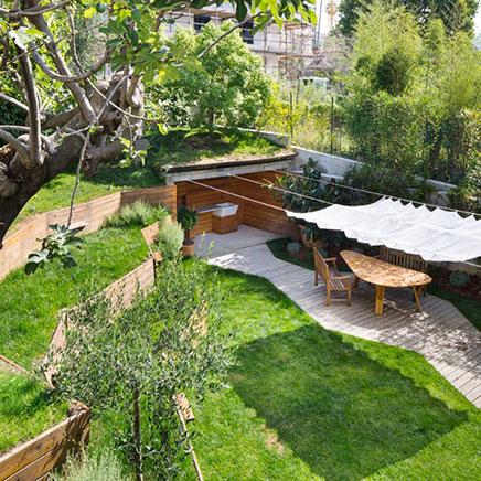 Tuin ontwerp met hoogteverschillen