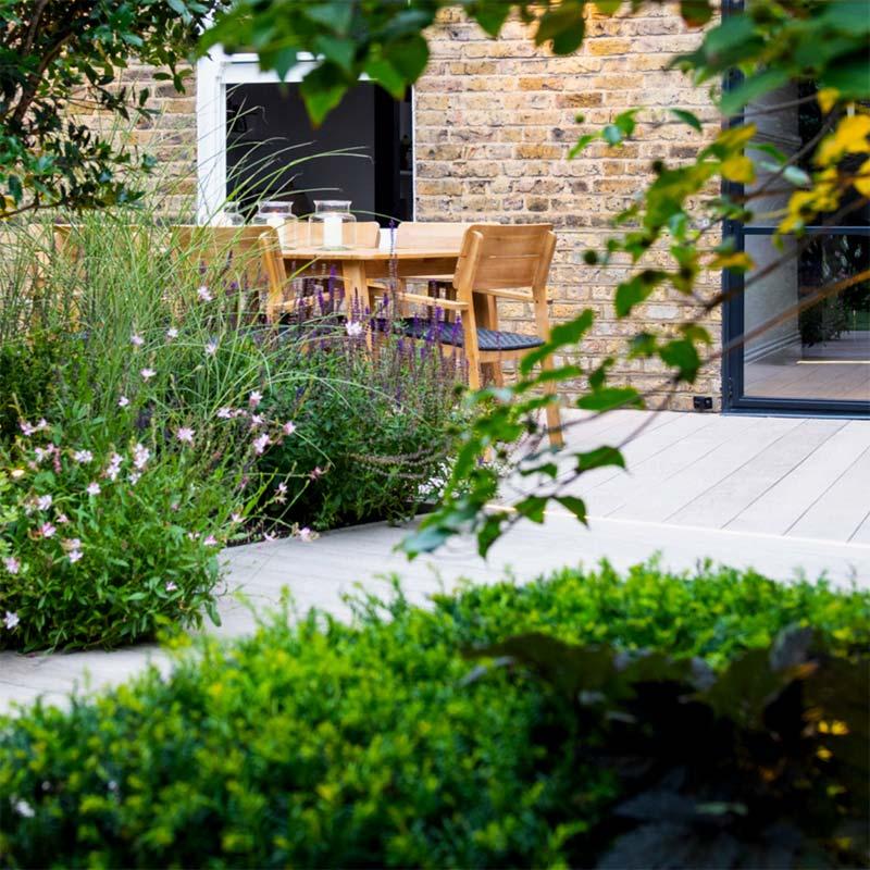 tuin voorbeelden geometrische tuin mooie beplanting