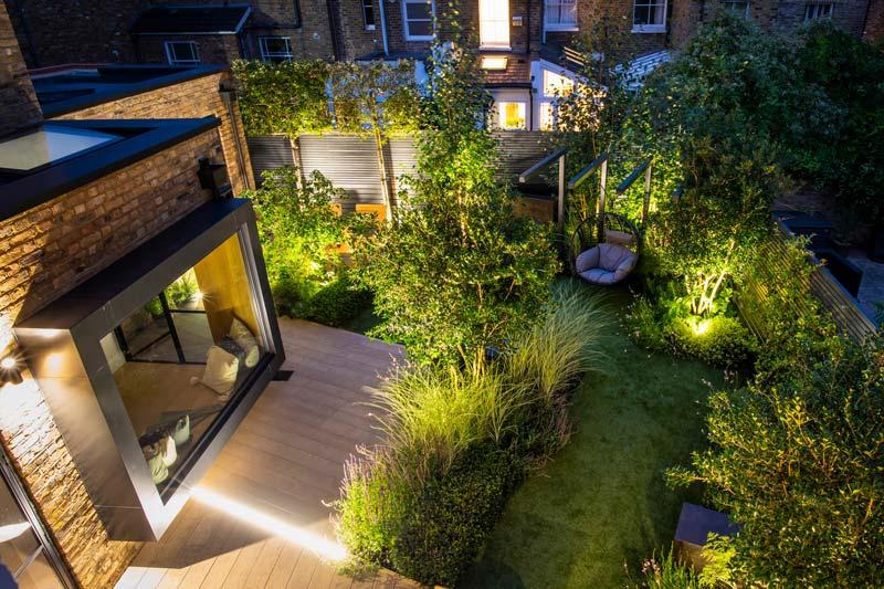 tuin voorbeelden moderne geometrische tuin verlichting