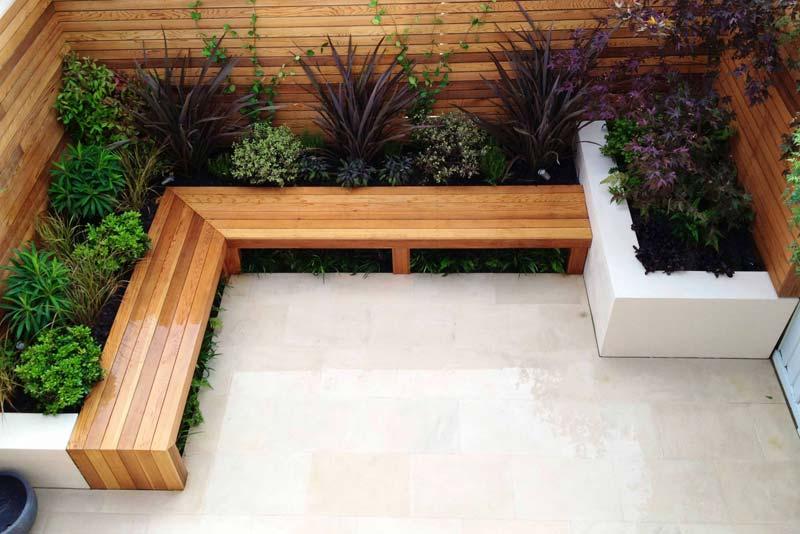 tuin voorbeelden moderne tuin l-vormige bank