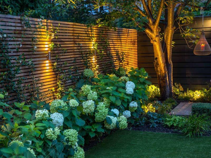 tuin voorbeelden sfeervolle tuin hortensia verlichting houten schuttingen