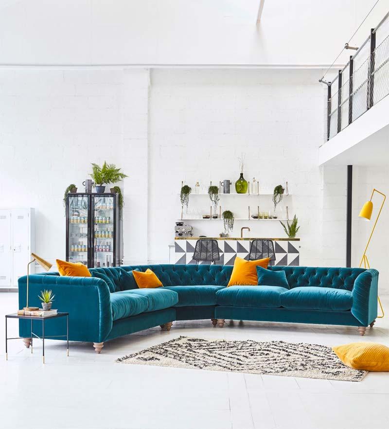 turquoise kleur interieur bank