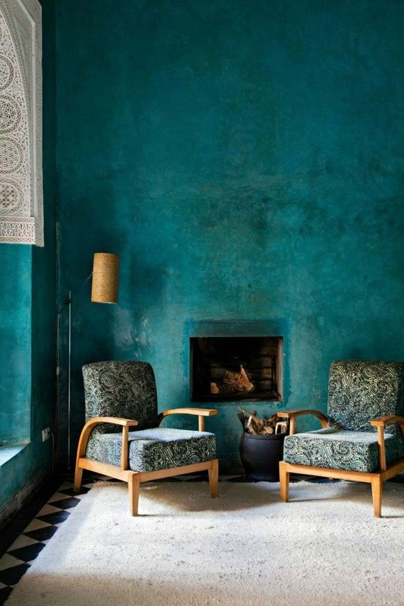 turquoise kleur interieur muren Marokkaanse sfeer