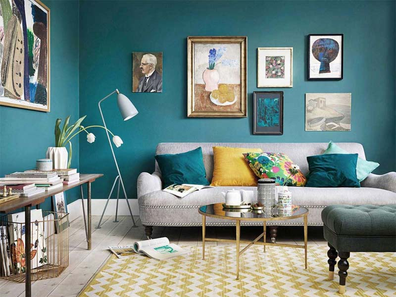 turquoise kleur interieur muren woonkamer