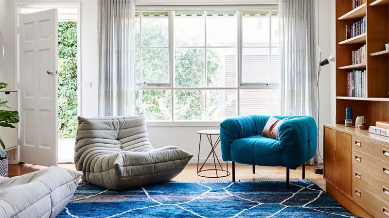 turquoise kleur interieur togo ligne roset fauteuil