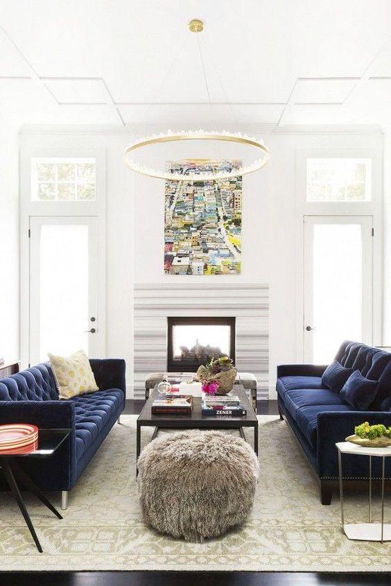 Living Room Design Ideas Blue Sofa: Twee Banken Tegenover Elkaar