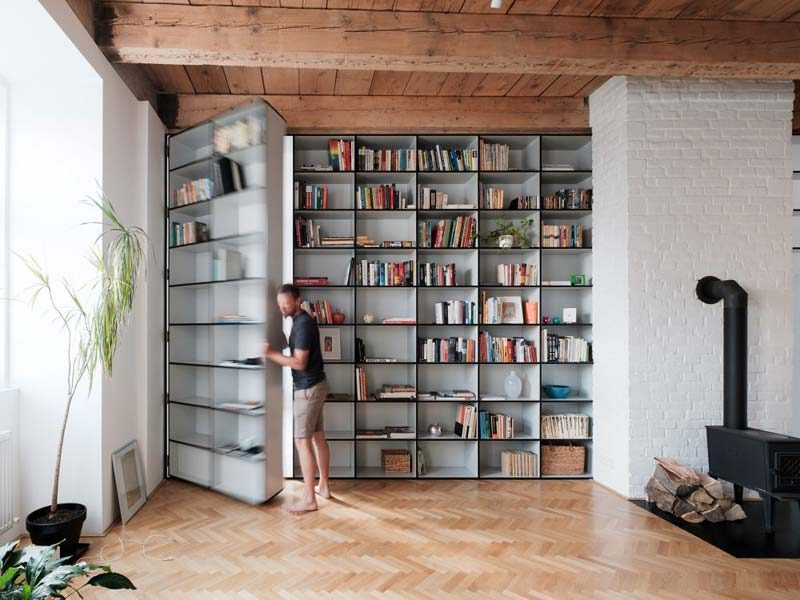 verborgen deur kast woonkamer