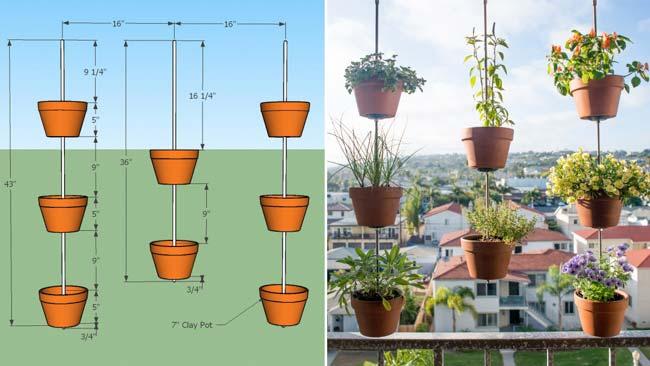 Verticaal tuinieren met terracotta potten
