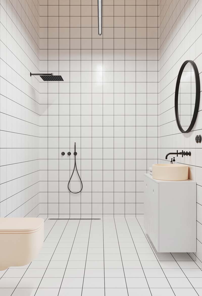 vierkante witte tegels badkamer