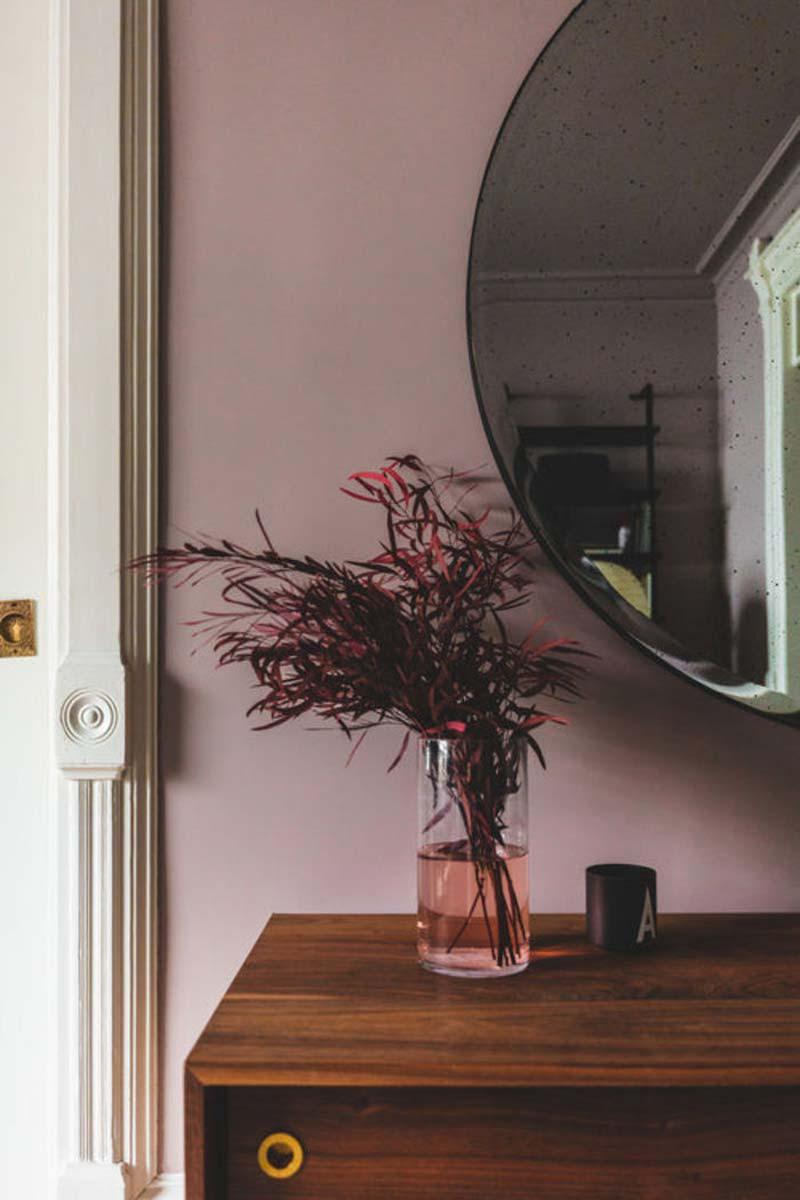 vintage kast grote ronde spiegel