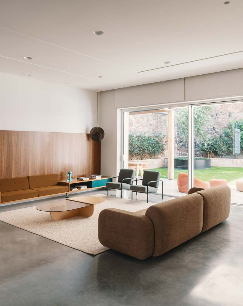 vintage woonkamer betonnen vloer