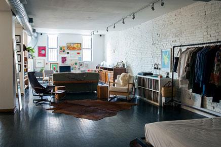 Vintage woonkamer van loft uit New York
