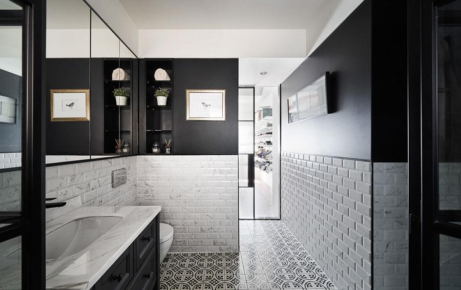 vintage zwart wit badkamer