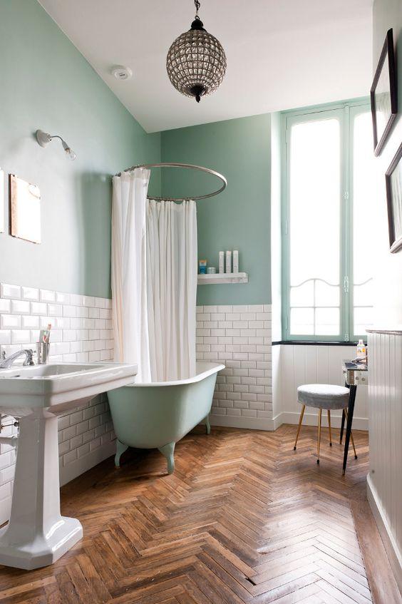 visgraat houten vloer badkamer