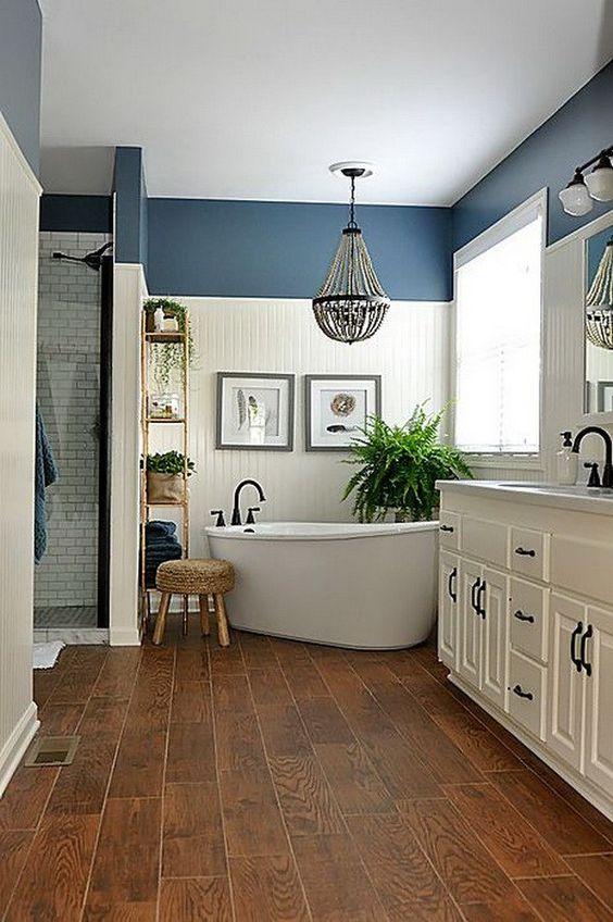 Visgraat laminaat vloer badkamer