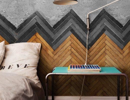 Visgraat muur slaapkamer