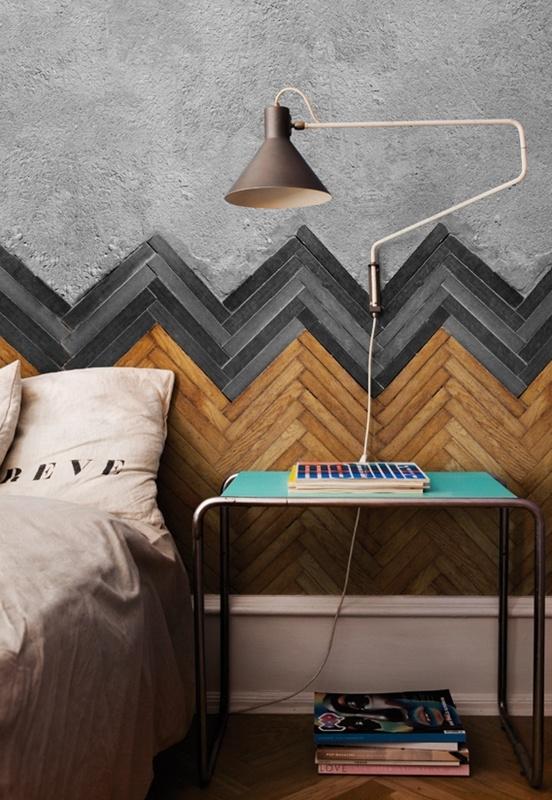 Houten Slaapkamer Muur : Houten slaapkamer muur lange plank achter het ...