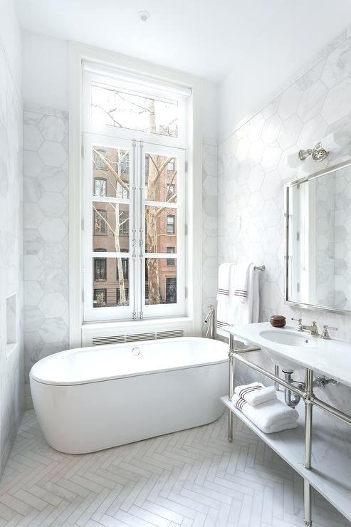 visgraat vloer badkamer wit