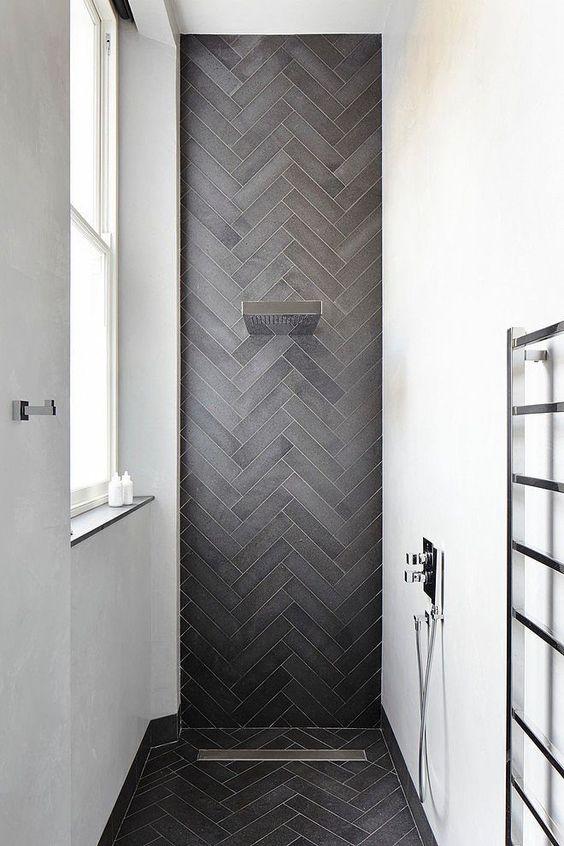 visgraat vloer en wand badkamer