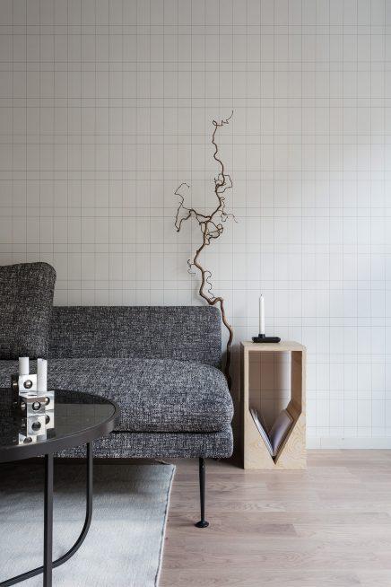Volledige moderne woonkamer met mooi behang | Inrichting-huis.com
