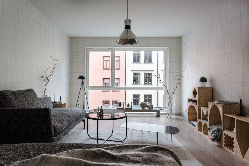 Volledige moderne woonkamer met mooi behang inrichting for Moderne woonkamer