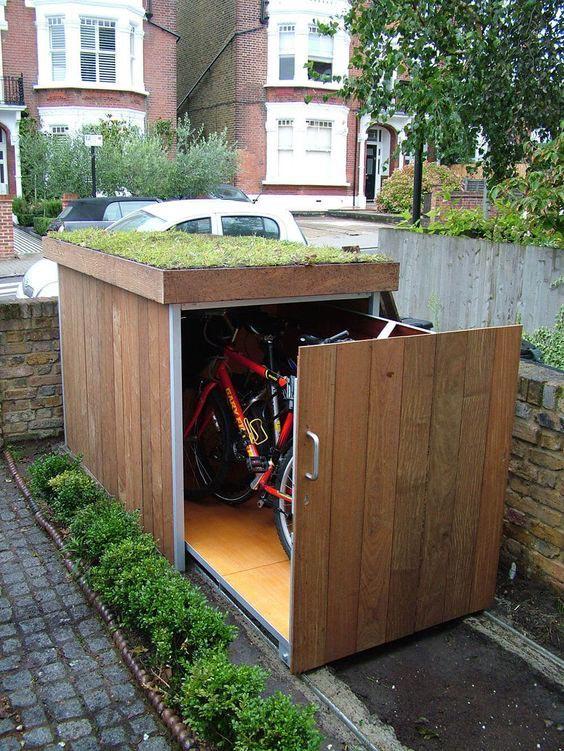 voortuin ideeën fietsenstalling-met-groen-dak