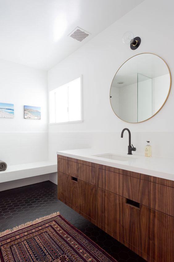 walnoot houten badkamermeubel
